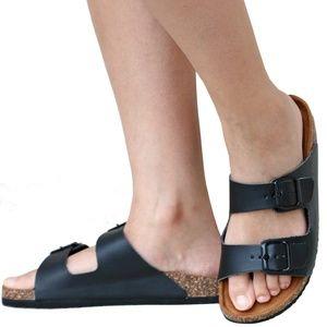 New Black Band Open Toe Slip On Cork Slide Sandals